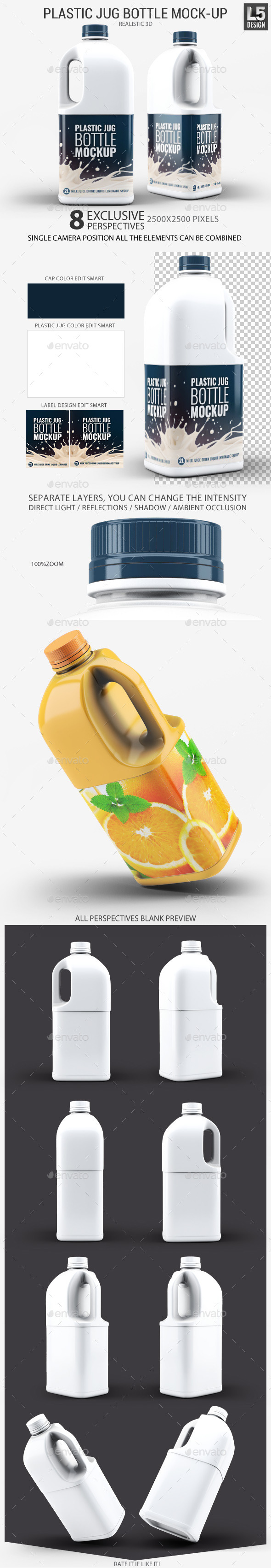 GraphicRiver Plastic Jug Bottle Mock-Up 11329965
