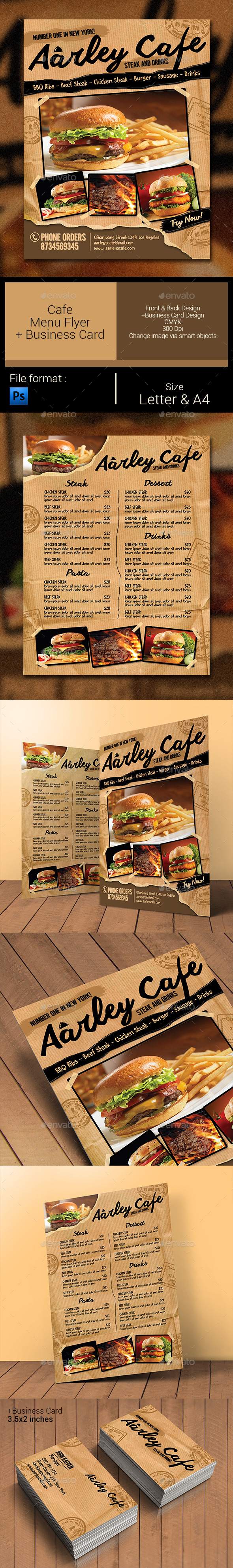 GraphicRiver Cafe Menu Flyer & Business Card 11330096
