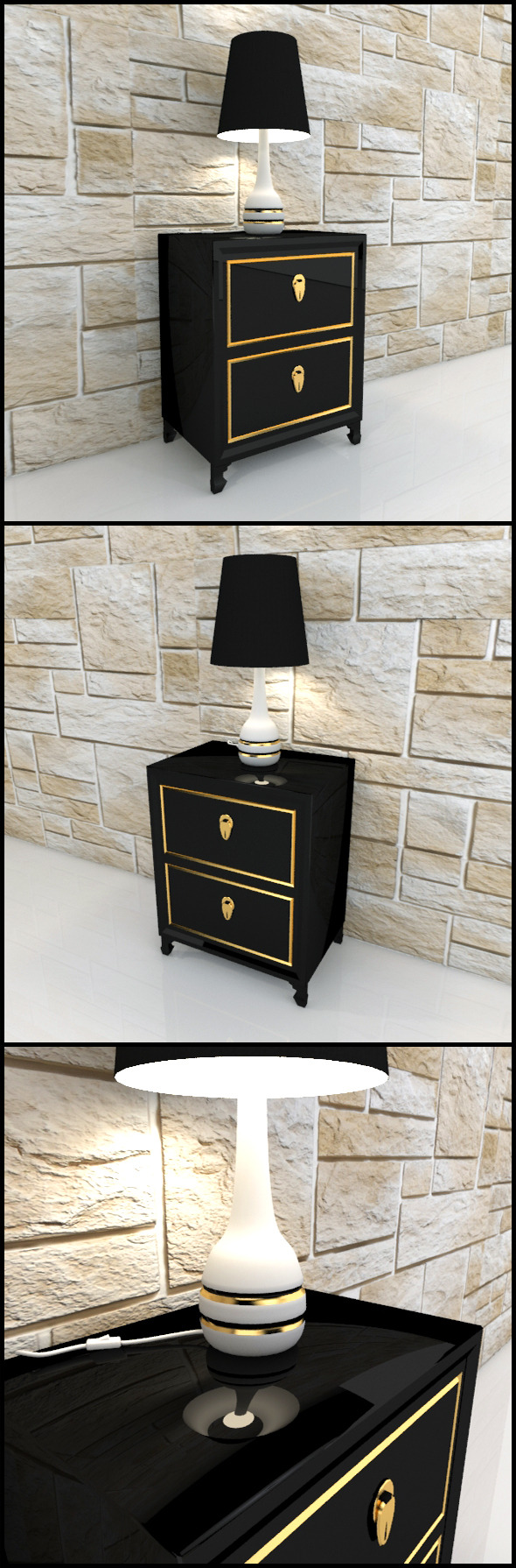 3DOcean Oriental bedside table with lamp 9601968