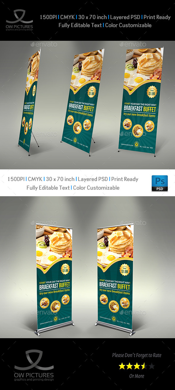 GraphicRiver Breakfast Restaurant Rollup Signage Template 11330771