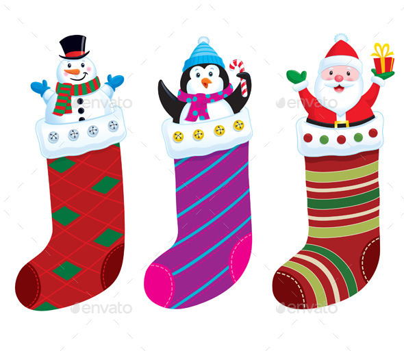 GraphicRiver Christmas Stockings with Characters 11331223