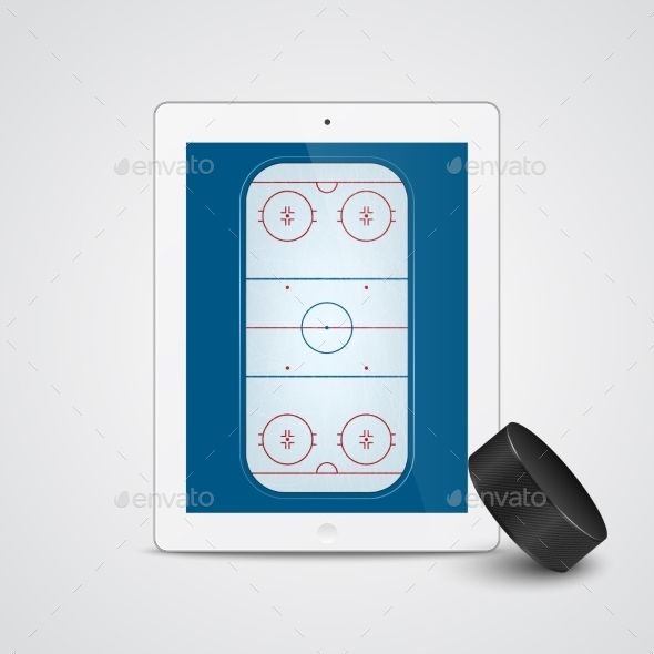 GraphicRiver White Tablet with Ice Hockey 11331266