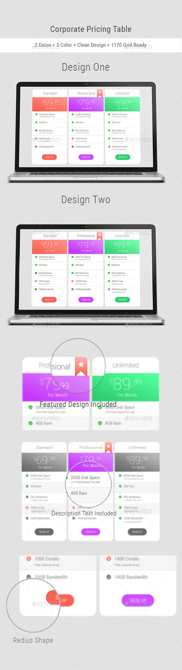 GraphicRiver Corporate Pricing Table 11331471