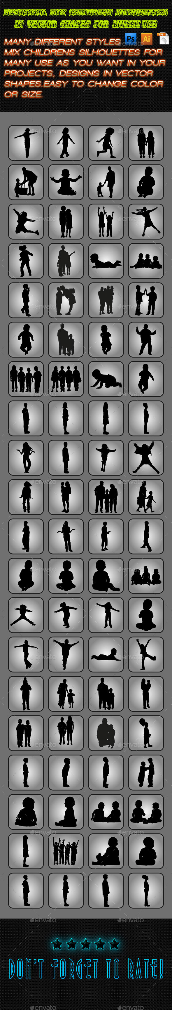 GraphicRiver Children Silhouettes Set 01 11331495