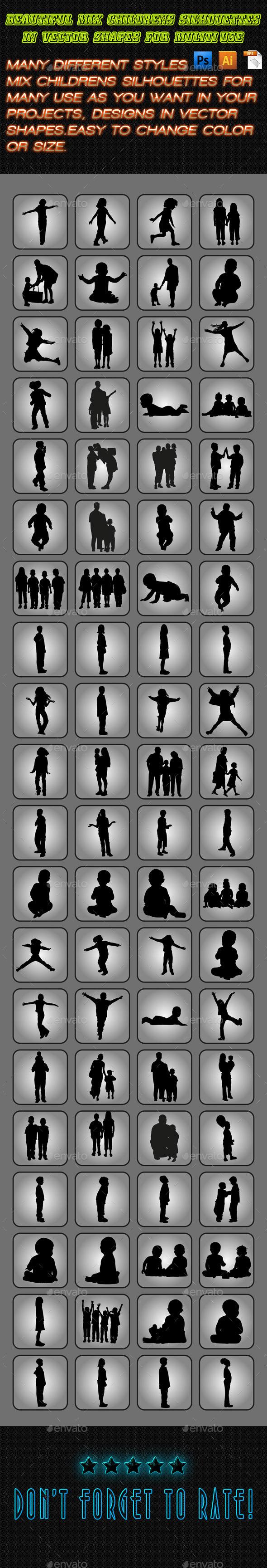 GraphicRiver Children Silhouettes Set 01 11331495