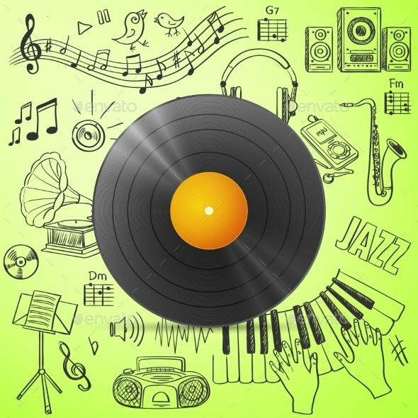 GraphicRiver Black Vinyl Record and Hand Draw Misic Icons 11331508
