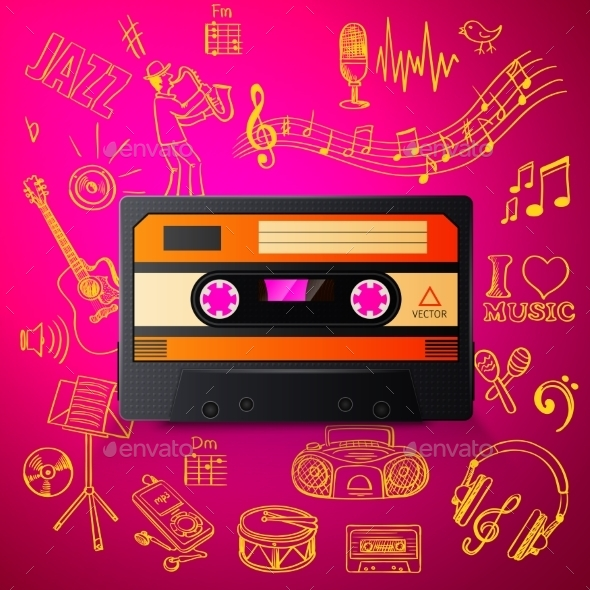 GraphicRiver Cassette And Hand Draw Misic Icon 11331517
