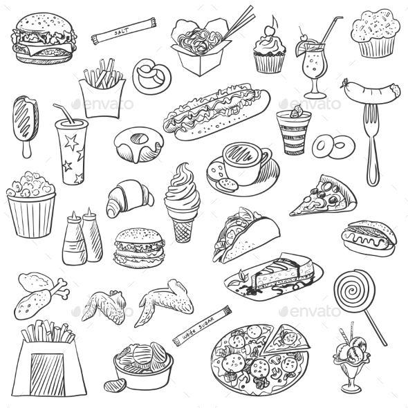 GraphicRiver Doodle Icons of Fast Food 11331579