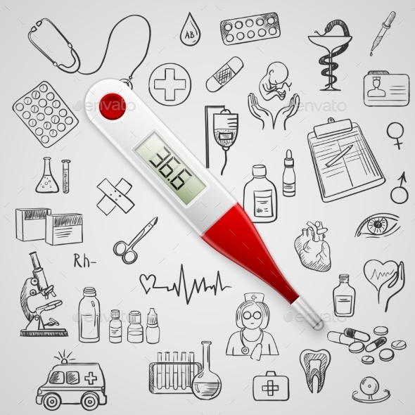GraphicRiver Electronic Thermometer and Medicine Icons 11331732