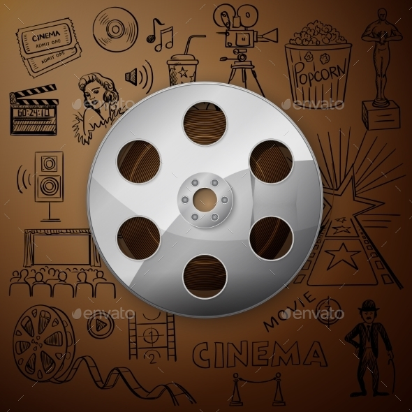 GraphicRiver Film Reel And Hand Draw Cinema Icon 11331736