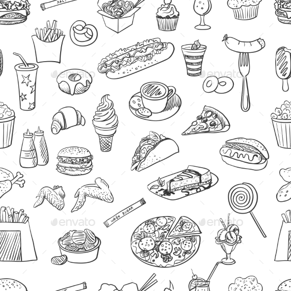 GraphicRiver Hand Drawn Fast Food Pattern 11331744