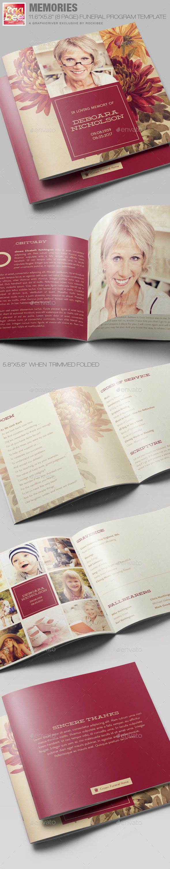 GraphicRiver Memories Funeral Program Template 11332035
