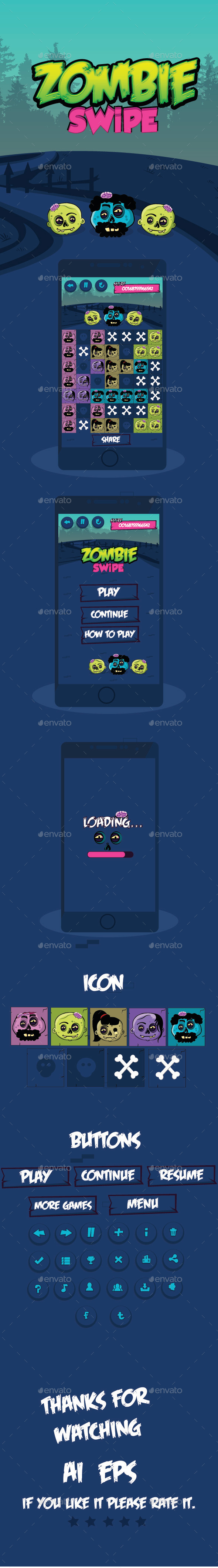 GraphicRiver Zombie Swipe Game UI 11332685