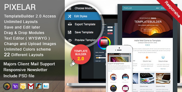 Download Pixelar - Responsive Email + TemplateBuilder nulled download