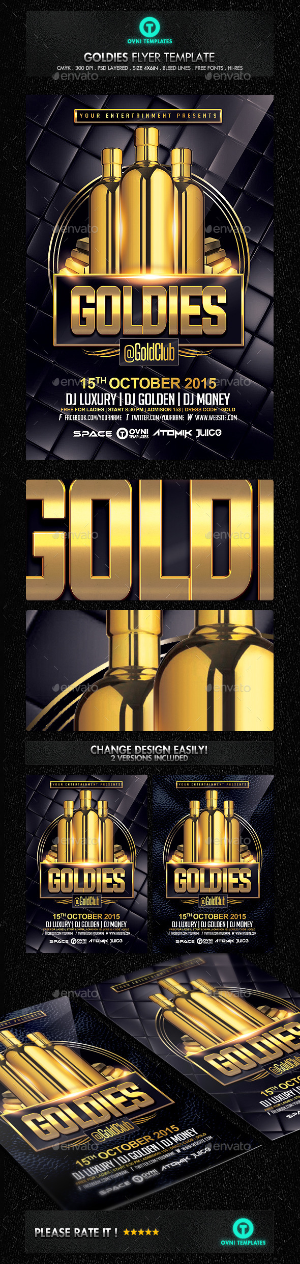 GraphicRiver Gold VIP Drink Flyer Template 11332936