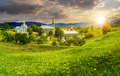 Monastery on the hillside at sunset - PhotoDune Item for Sale
