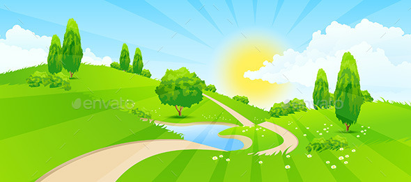 GraphicRiver Green Landscape with Road 11333208