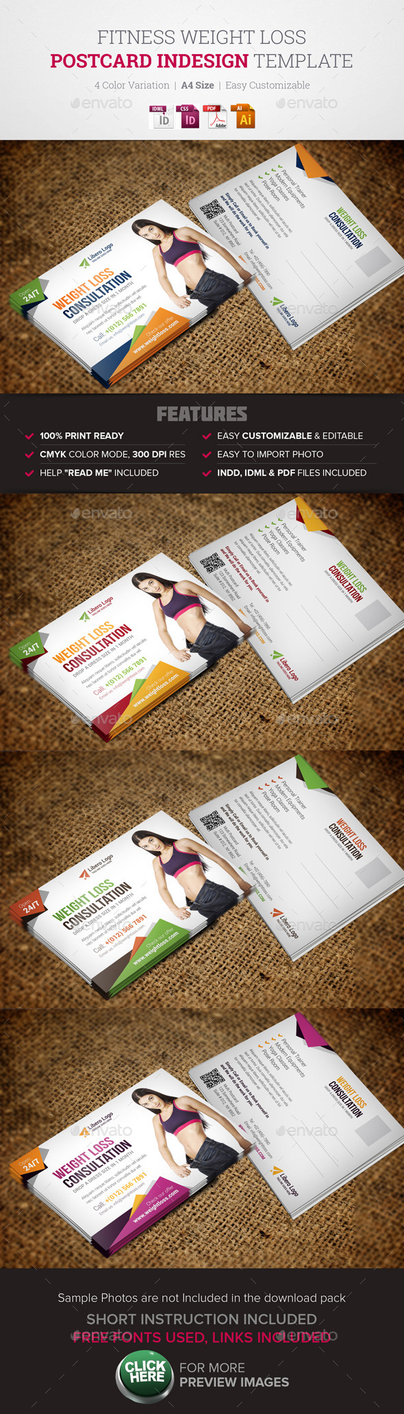 GraphicRiver Fitness Weight Loss Postcard InDesign Template 11333430