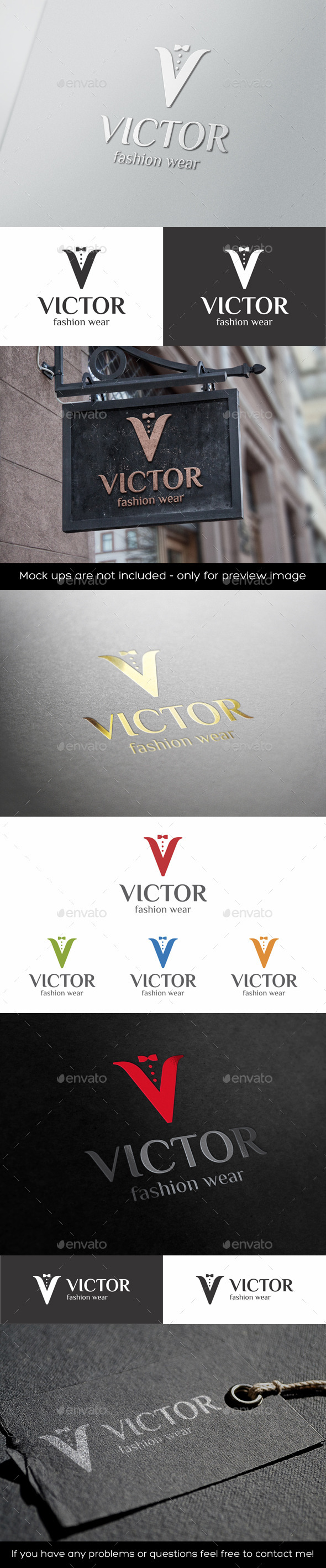 GraphicRiver V Letter Logo Mens Fashion Wear 11333455