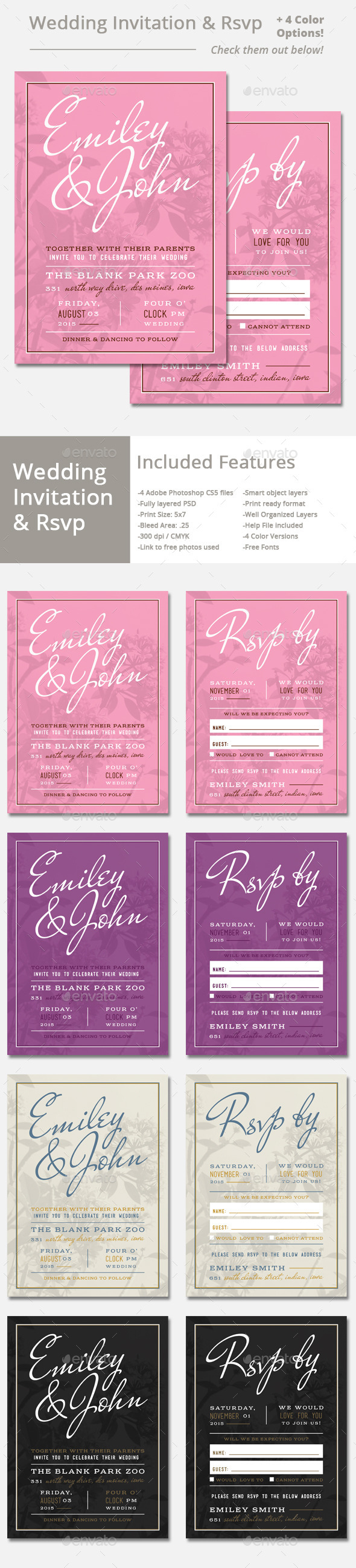 GraphicRiver Wedding Invitation and Rsvp 11333709