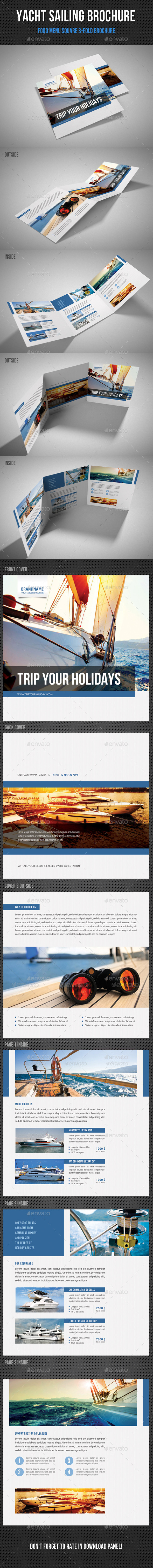 GraphicRiver Yacht Boat Sailing Square 3-Fold Brochure 01 11333718