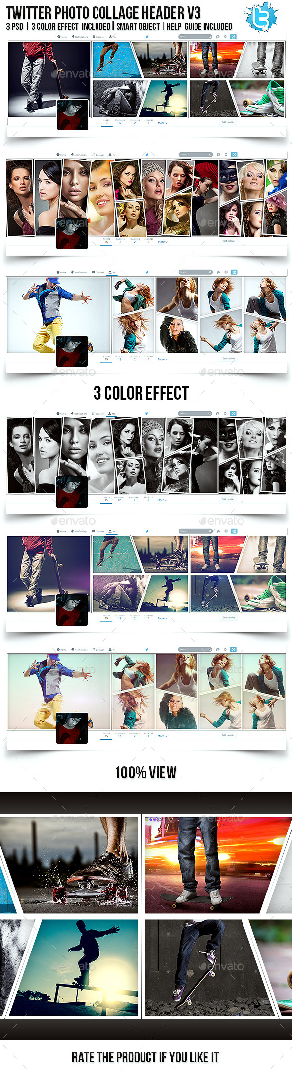 GraphicRiver Twitter Photo Collage Header V3 11334100
