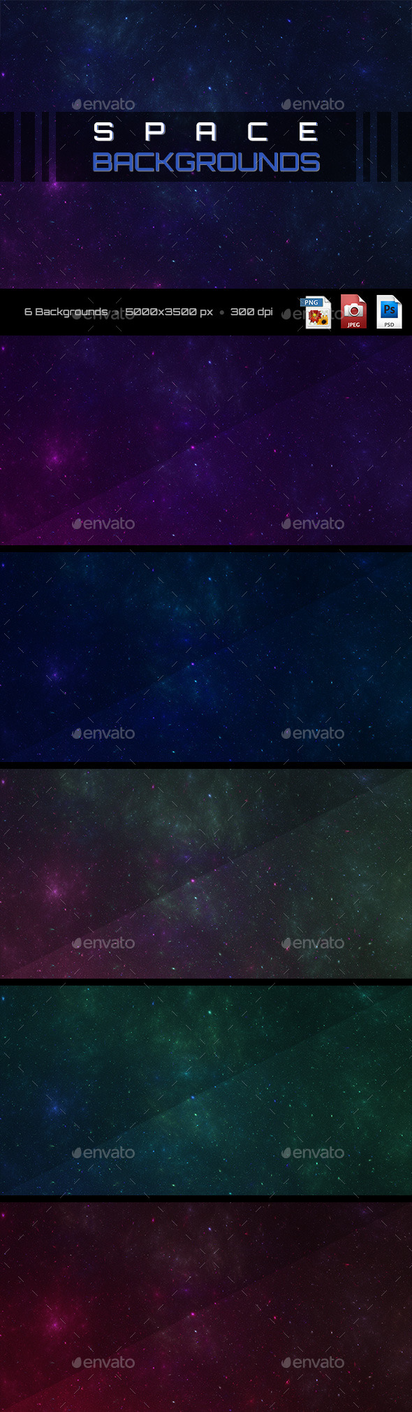 GraphicRiver 6 Space Backgrounds 11334118