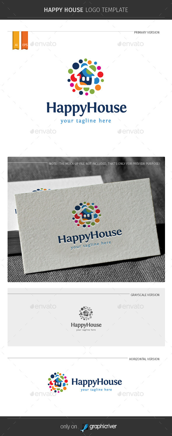 GraphicRiver Happy House Logo Template 11334269
