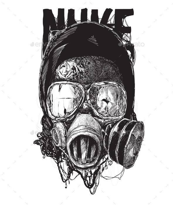 GraphicRiver Black and White Gas Mask 11334301