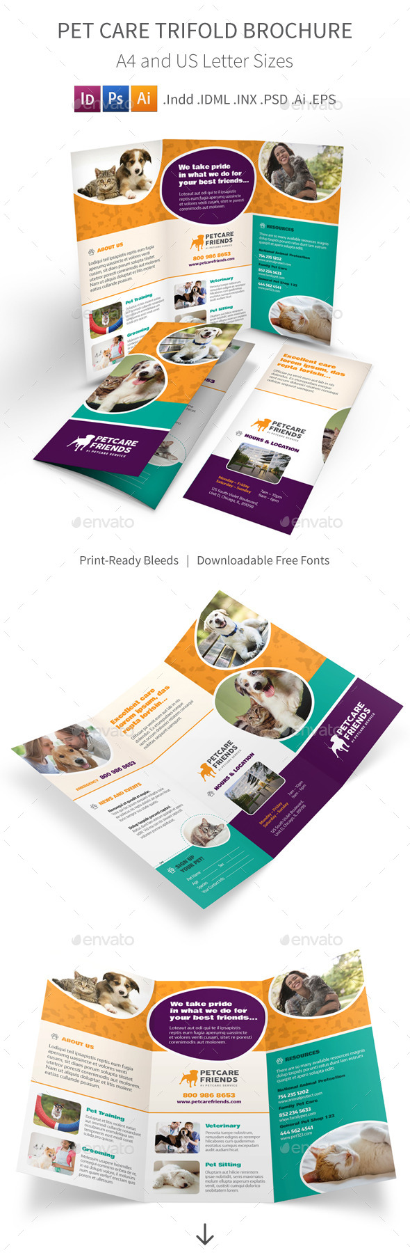 GraphicRiver Pet Care Trifold Brochure 11334344