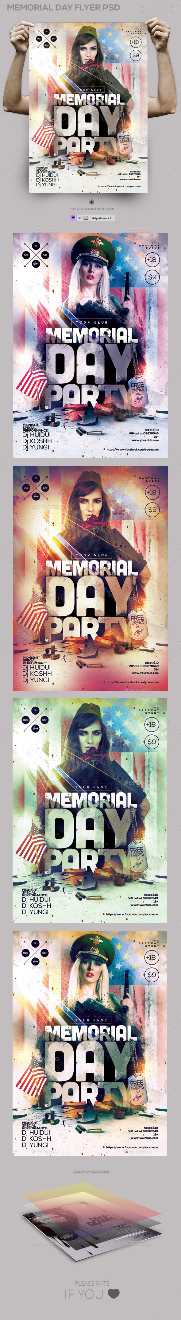 GraphicRiver Memorial Day Flyer PSD Template 11334350