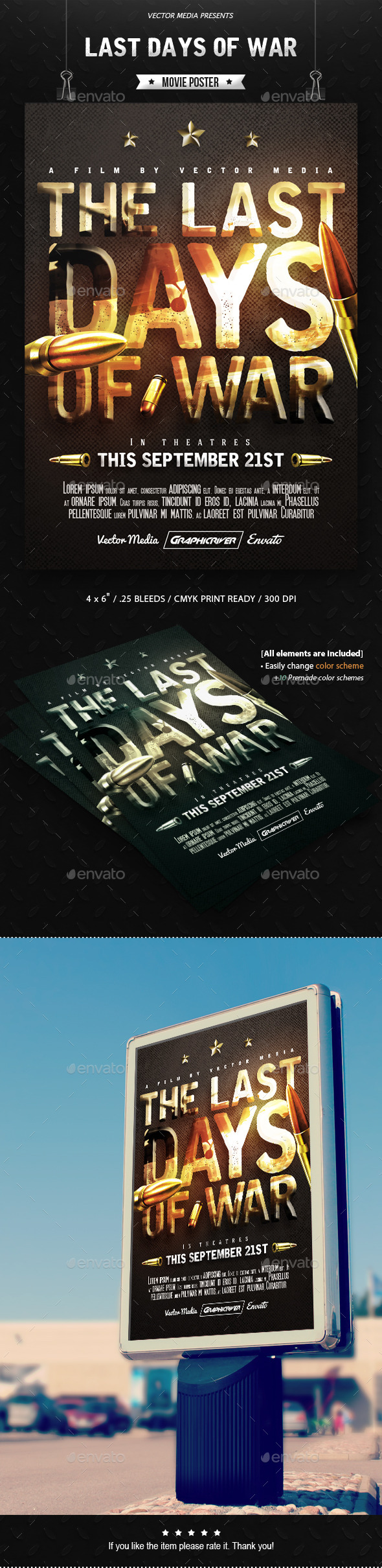 GraphicRiver Last Days of War Movie Poster 11334357