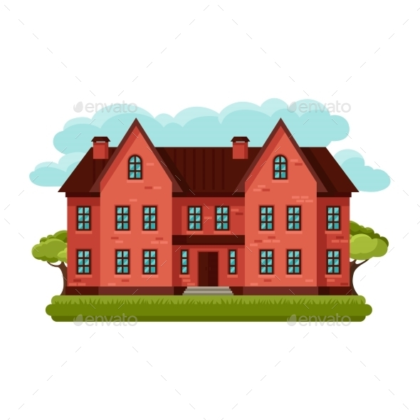 GraphicRiver Illustration Of Old Brick Cottage On Clouds 11334650