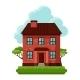 Illustration Of Old Brick Cottage On Clouds - GraphicRiver Item for Sale