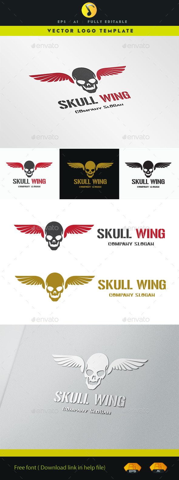 GraphicRiver Skull Wing 11334797