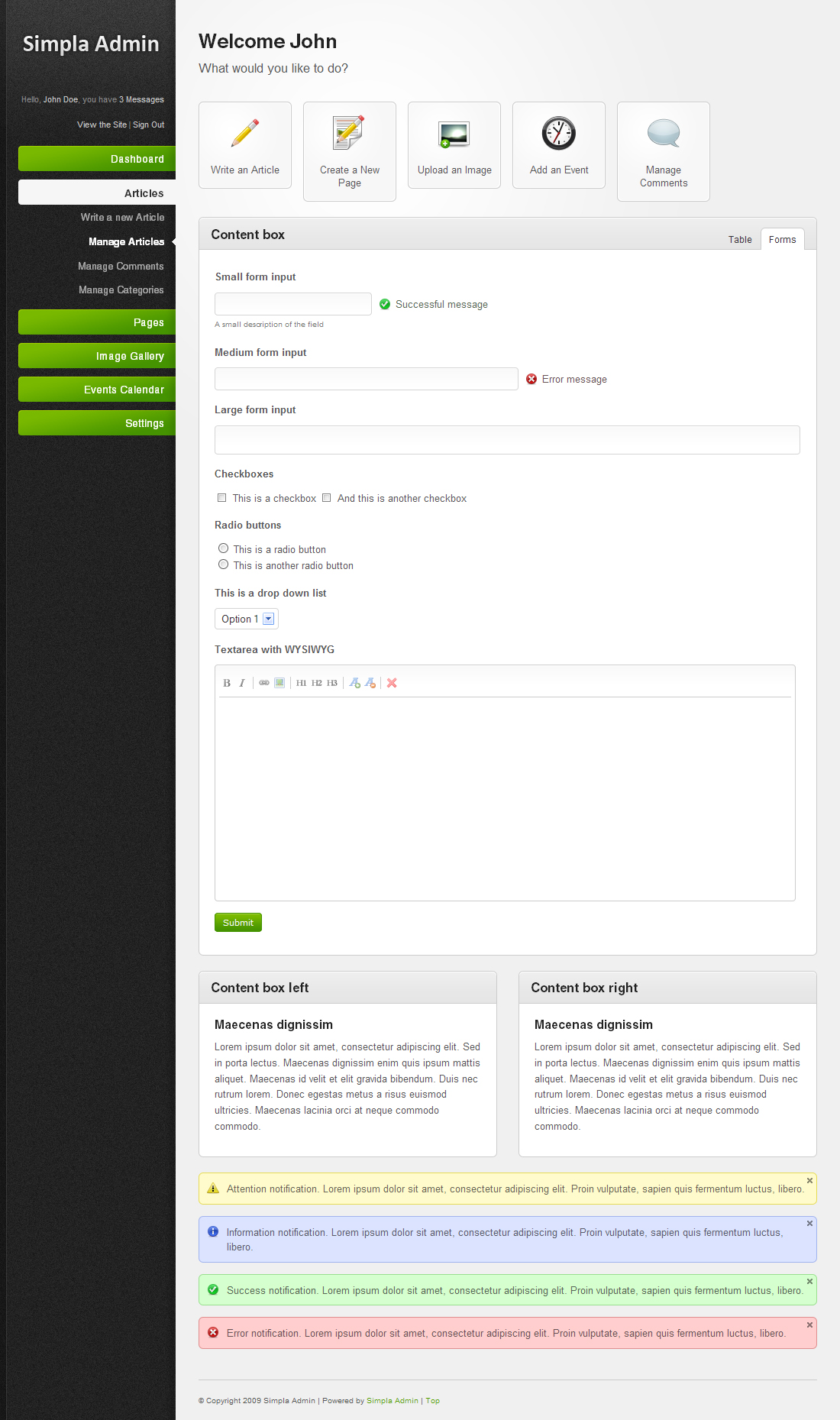 Simpla Admin - Flexible & User Friendly Admin skin - The green version of the main template with the forms shown.