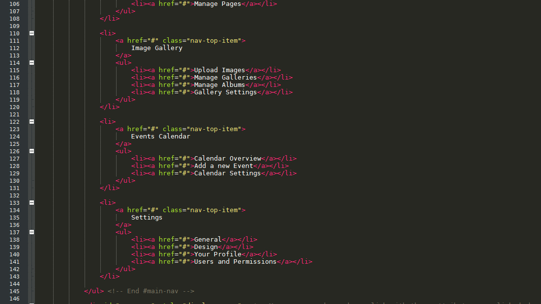 Simpla Admin - Flexible & User Friendly Admin skin - This is a sample of the code (seen in the editor Notepad++)