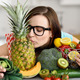 Young Woman Embracing Fruits and Vegetables - PhotoDune Item for Sale