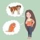 Girl Thinking Whom To Choose. Cat Or Dog - GraphicRiver Item for Sale