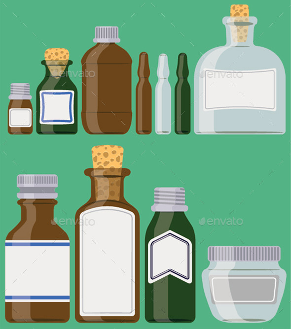 GraphicRiver Bottles Set Medicine Containers 11335411