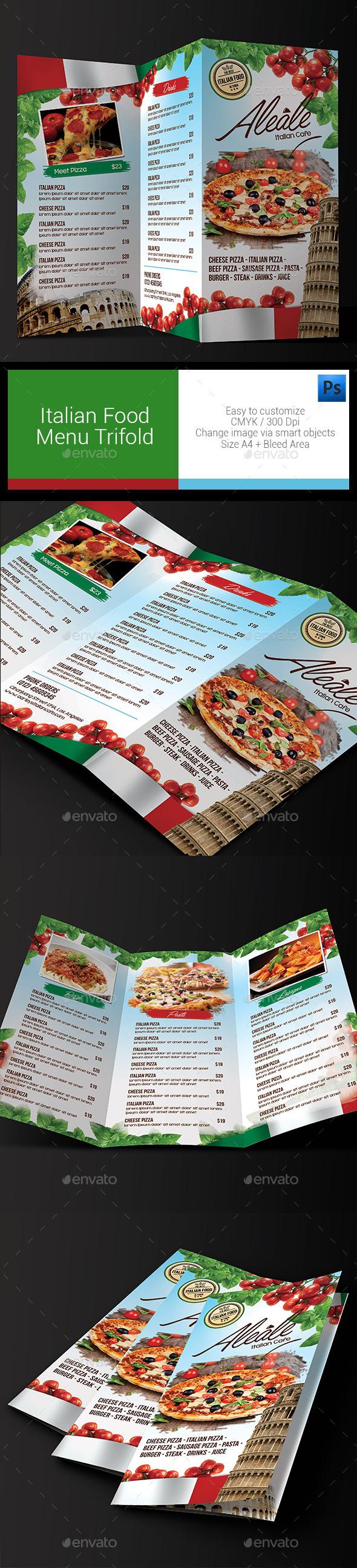 Italian Food Menu Trifold