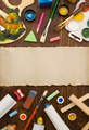 paint supplies and brush on wood - PhotoDune Item for Sale