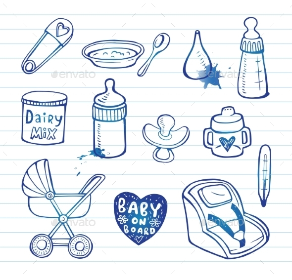 GraphicRiver Infant Doodle Icon Set 11336341