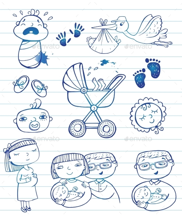 GraphicRiver Infant Doodle Icon Set 11336638