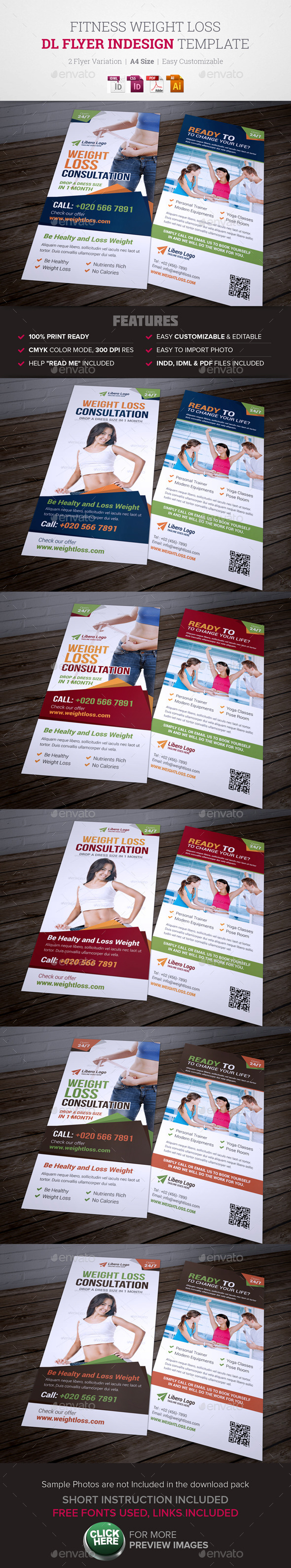 Fitness Weight Loss DL Flyer InDesign Template