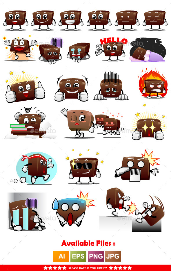 GraphicRiver Chocolate Characters Sticker 11337071
