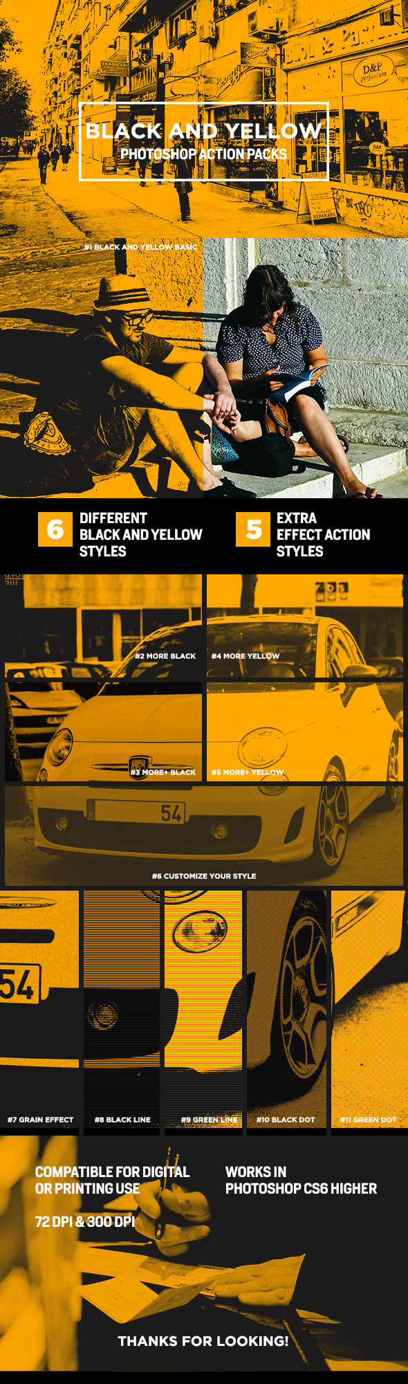GraphicRiver Black and Yellow Photoshop Action 11337294