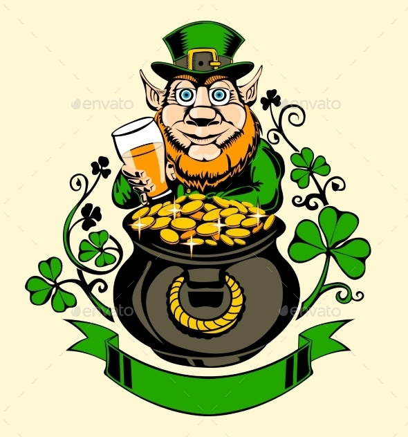 GraphicRiver Leprechaun Standing Next to a Pot of Gold 11338358