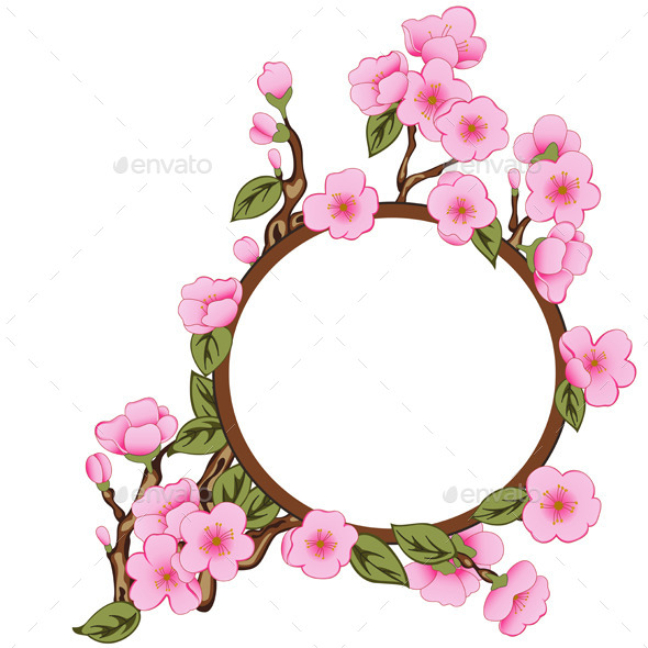 GraphicRiver Floral Frame with Sakura 11338383