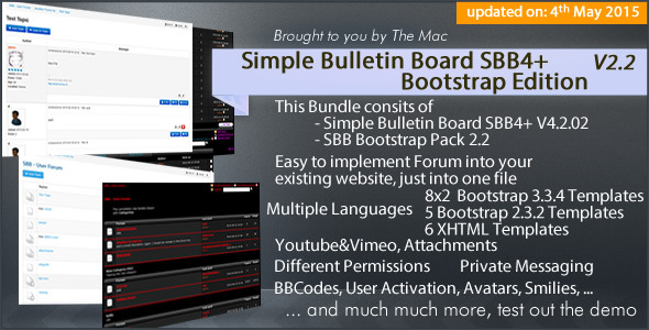 Simple Bulletin Board - SBB4+ Bootstrap Edition - CodeCanyon Item for Sale